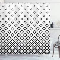 "Ambesonne Geometric Shower Curtain, Minimalist Square Shaped Forms Abstract Simplistic Graphic, Cloth Fabric Bathroom Decor Set with Hooks, 75"" Long, White and Black"