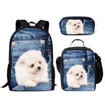 Middle School Backpack Set Lunch Bag Pen Bags For Girls Fashion Book Bag White Dog Print