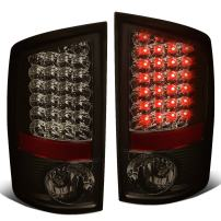 Replacement for Dodge Ram Pickup 3rd Gen Pair of Chrome Housing Smoked Lens LED Brake Tail Lights