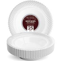 Disposable Plastic Soup Bowls - 25 Pack 12 Oz. White Bowl with Elegant Silver Swirl Rim Design for Wedding, Birthday, Dinner Party - by Elite Selection