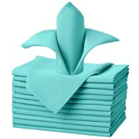 VEEYOO Cloth Napkins - Set of 12 Pieces 20 x 20 Inch Solid Polyester Table Napkins - Soft Washable and Reusable Dinner Napkin for Weddings, Parties, Restaurant (Turquoise Napkins Cloth)