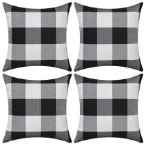 Gysan Buffalo Check Plaid Pillow Covers Set of 4 Black and White Outdoor Throw Pillow Cases Christmas Decorative Cushion Cover Cotton Linen Farmhouse Home Decor for Couch Sofa Bed Car, 18 x 18 Inches