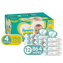 Diapers Size 4, 150 Count and Baby Wipes - Pampers Swaddlers Disposable Baby Diapers, ONE Month Supply with Pampers Sensitive Water Baby Wipes, 12X Pop-Top Packs, 864 Count