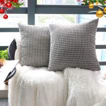 """Set of 2,Decorative Throw Pillow Covers 22""""x22"""" (No Insert),Solid Cozy Corduroy Corn Accent Square Pillow Case Sham,Soft Velvet Large Cushion Covers with Hidden Zipper for Couch/Sofa/Bed,Light Gray"""