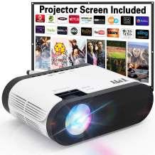 TMY 1080P Full HD Enhanced Projector, Over 7000 Lumens [180 ANSI Brightness] Home Projector, Mini Projector Compatible with TV Stick HDMI USB VGA AV, Projector for Outdoor Movies & Home Cinema.