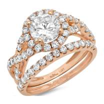 2.34ct Round Cut Halo Split Shank Solitaire with Accent VVS1 Ideal D Moissanite & Simulated Diamond Engagement Promise Designer Anniversary Wedding Bridal ring band set 14k Rose Gold