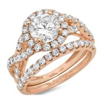 2.40ct Round Cut Halo Split Shank Solitaire with Accent Highest Quality Moissanite & Simulated Diamond Engagement Promise Statement Anniversary Bridal Wedding Ring band set Real Solid 14k Rose Gold