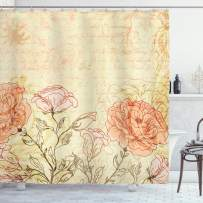"""Ambesonne Vintage Shower Curtain, Double Exposure Background Roses and Lettering Love Words Once Upon a Time Theme, Cloth Fabric Bathroom Decor Set with Hooks, 84"""" Long Extra, Cream Pink"""