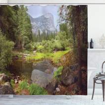 """Ambesonne Yosemite Shower Curtain, Small Spring Forest Distant Mountain Picture of Yosemite National Park Landscape Print, Cloth Fabric Bathroom Decor Set with Hooks, 75"""" Long, Light Green"""