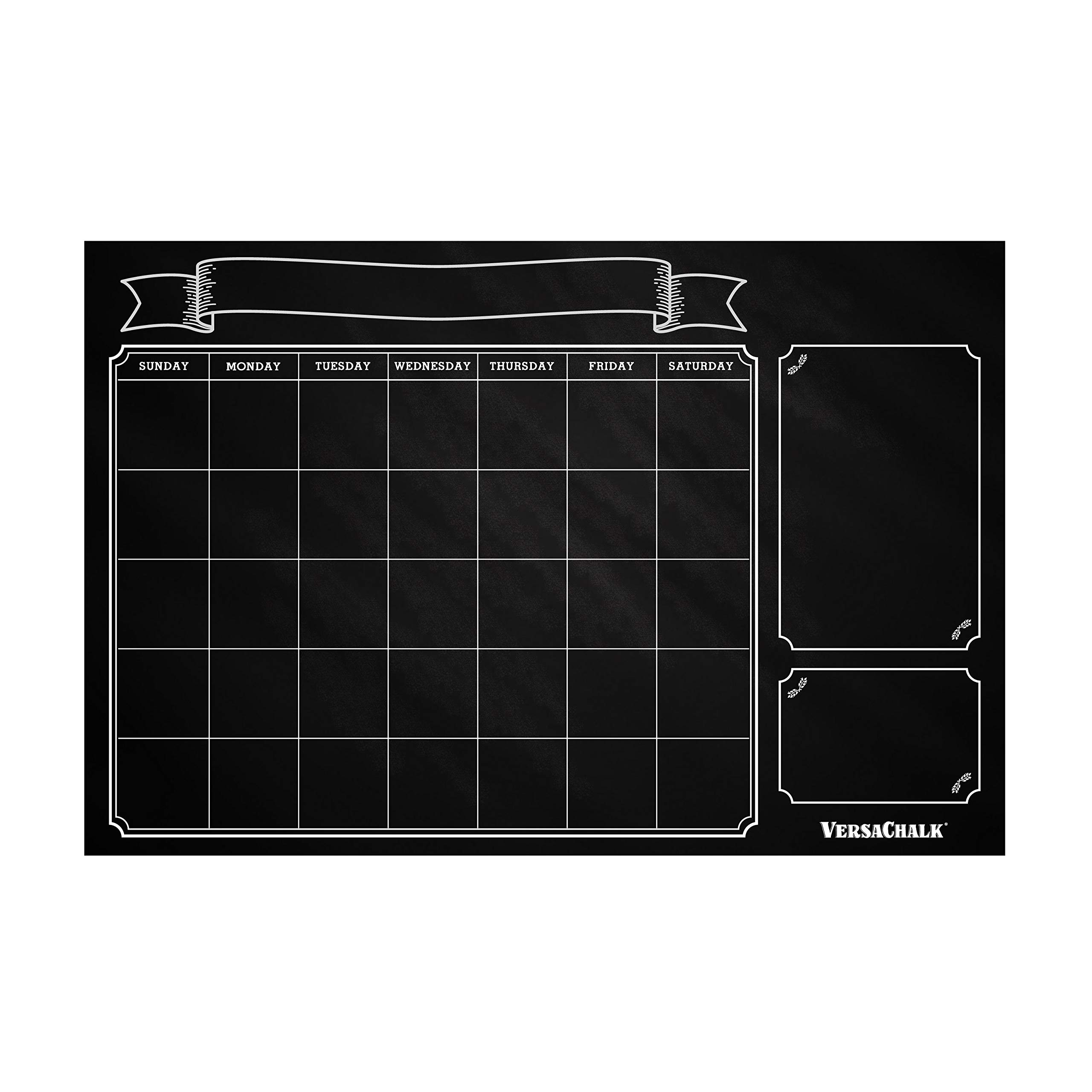 """Huge Dry Erase Chalkboard Calendar for Wall by VersaChalk (24 x 36"""" Vintage Erasable Calendar for Wall) Rustic Black Chalkboard Wall Calendar Decal for Classroom, Chore Chart for Kids"""