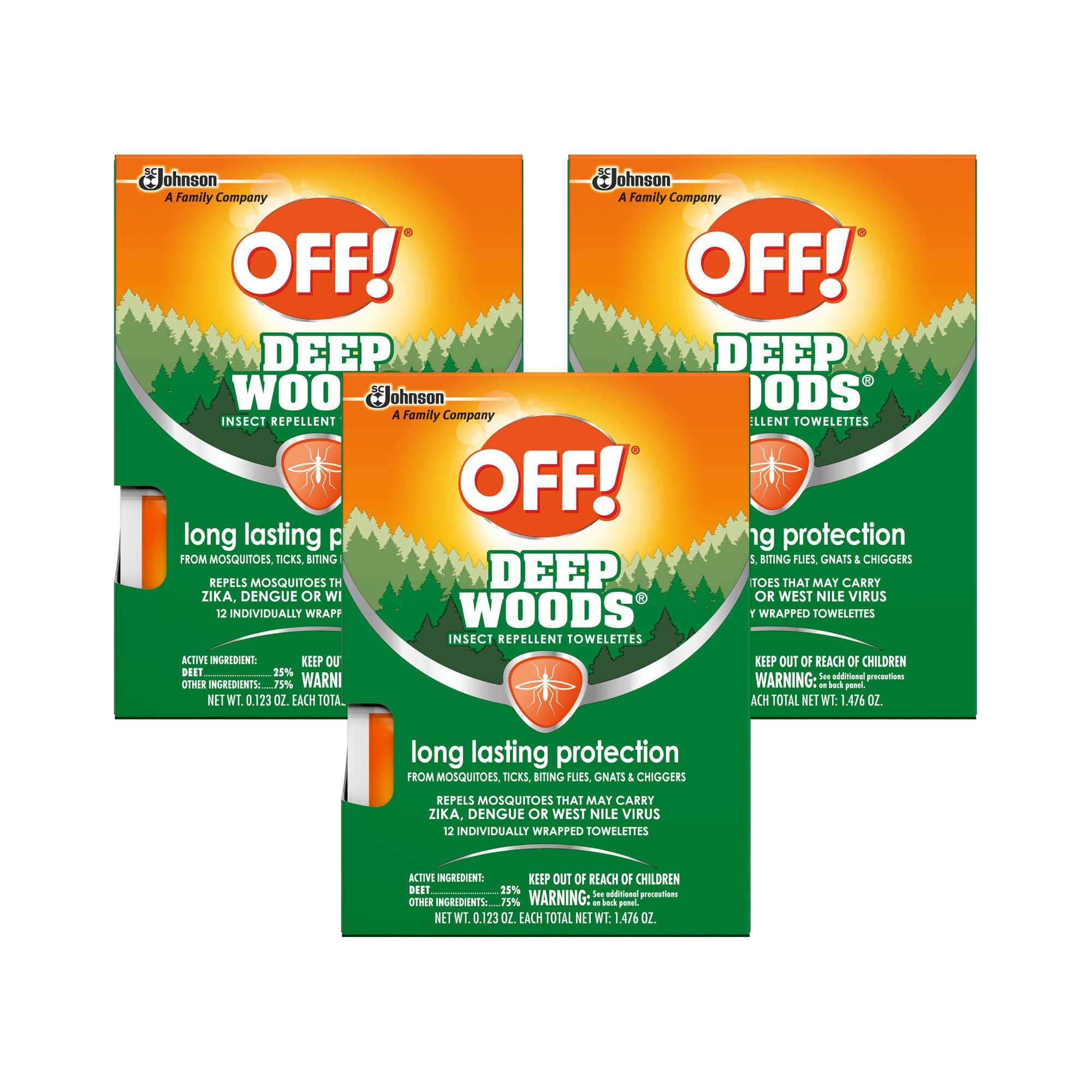 OFF! Deep Woods Mosquito and Insect Repellent Wipes, Long lasting, Individually Wrapped Wipes, 3-pack