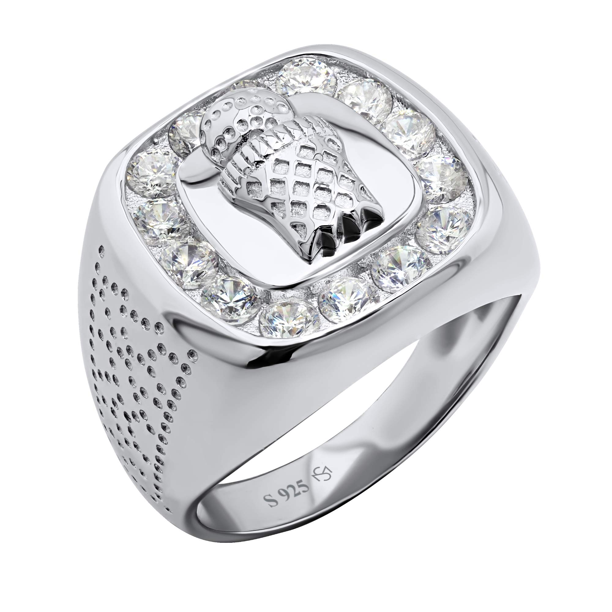 Men's Sterling Silver .925 Ring Featuring a Basketball and Hoop Surrounded by Fancy Channel-Set Cubic Zirconia (CZ) Stones, Platinum Plated