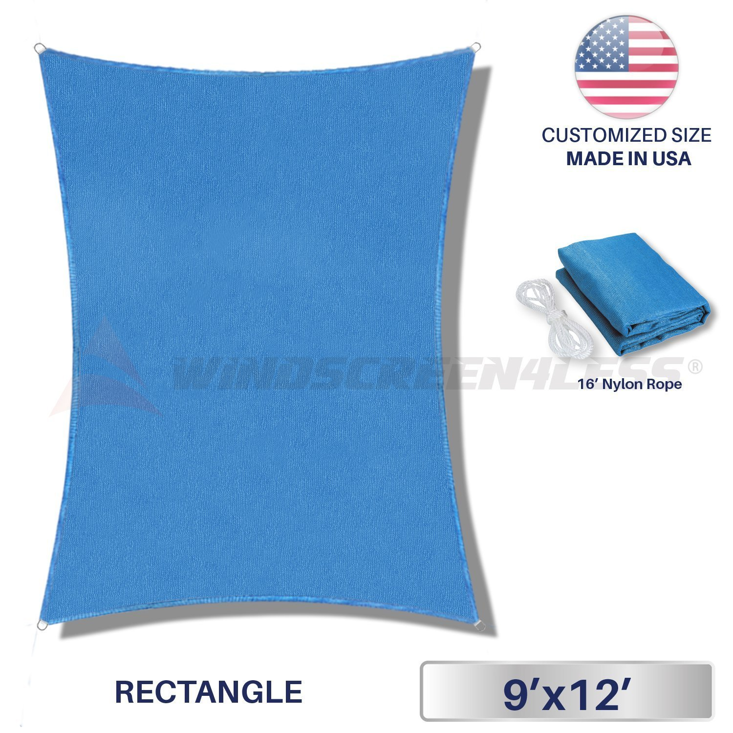 Windscreen4less Sun Shade Sail Ice Blue 9' x 12' Rectangle Patio Permeable Fabric UV Block Perfect for Outdoor Patio Backyard - Customize (4 Pad Eyes Included)