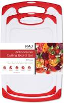 Raj Plastic Cutting Board Reversible Cutting board, Dishwasher Safe, Chopping Boards, Juice Groove, Large Handle, Non-Slip, BPA Free (Set of Two, Red)