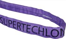 """Mazzella Supertechlon Polyester Round Sling, Endless, Purple, 6' Length, 1 1/2"""" Width, 3000 lbs Vertical Load Capacity"""