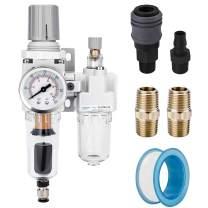 "NANPU 1/4"" NPT Auto-Drain Air Filter Regulator Lubricator Combo (FRL) Water/Oil Trap Separator - Gauge(0-150 psi), 5 Micro Brass Element, Poly Bowl, Metal Bracket"