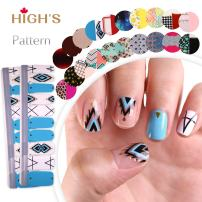 HIGH'S EXTRE ADHESION 20pcs Nail Art Transfer Decals Sticker Pattern Series The Cocktail Collection Manicure DIY Nail Polish Strips Wraps for Wedding,Party,Shopping,Travelling (Diamond Puzzle)