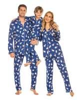 Ekouaer Christmas Family Matching Pajamas Long Sleeve Pj Set Micro Fleece Lined Festival Party Sleepwear with Button
