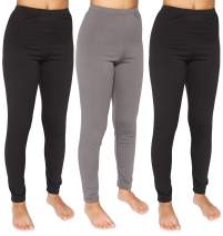 Womens Thermal Underwear Base Layer Fleece Lined Compression Pants Leggings 3 Pack