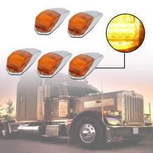ECOTRIC 5 pcs 31LED Amber Truck Cab Marker Running Lights Waterproof Top Roof for Peterbilt/Kenworth/Freightliner/Volvo/Western Star/Mack/International/Paccar Trailer Trucks