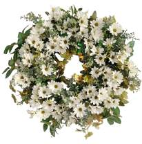 Huashen Artificial Cosmos & Daisy Grapevine Wreath Spring Summer White Blossom Foliage Wreath for Indoor Outdoor 24inch