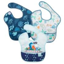 Bumkins SuperBib, Baby Bib, Waterproof, Washable, Stain and Odor Resistant, 6-24 Months, 3-Pack - Hangry, Dinosaurs, Blue Tropic