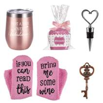 Wine Tumbler Cupcake Wine Socks Set, Ideas for Girlfriend Lover Women Girls, Not a Day Over Fabulous 12 Oz Stainless Steel Tumbler, Socks, Bottle Opener, Wine Stopper, Rose gold