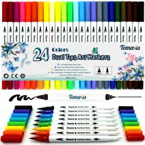 24pcs Watercolor Brush Art Marker, 0.4-2mm Coloring Pens Dual Tip Fineliner Felt Tip Water Color Drawing Bullet Journaling Paintbrush Highlighters