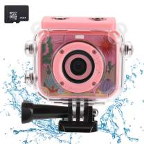 Waterproof Children Camera with 2.0 Inch LCD Display 12MP HD ESHOWEE Kids Underwater Camera Camcorder with 32G SD Card for 4-12 Pink
