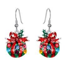 EVER FAITH Holiday Gift Austrian Crystal Enamel Cute Gift Bag Christmas Tree Dangle Earrings
