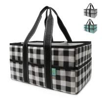 Early Hugs Diaper Caddy Organizer, Nursery Storage, Baby Gift Basket, Black & White Plaid