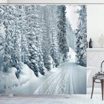 """Ambesonne Winter Shower Curtain, Ski Themed Snowy Road Cold Parts of The World Footprints Colorado United States, Cloth Fabric Bathroom Decor Set with Hooks, 75"""" Long, Blue White"""