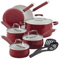 Paula Deen 13035 Savannah Nonstick Cookware Set / Pots and Pans Set - 12 Piece, Red
