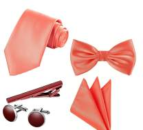 TIE G 5pcs Tie Set in Gift Box : Solid Color Necktie, Satin Bow Tie, Pocket Square, Lapel, Cuff Links