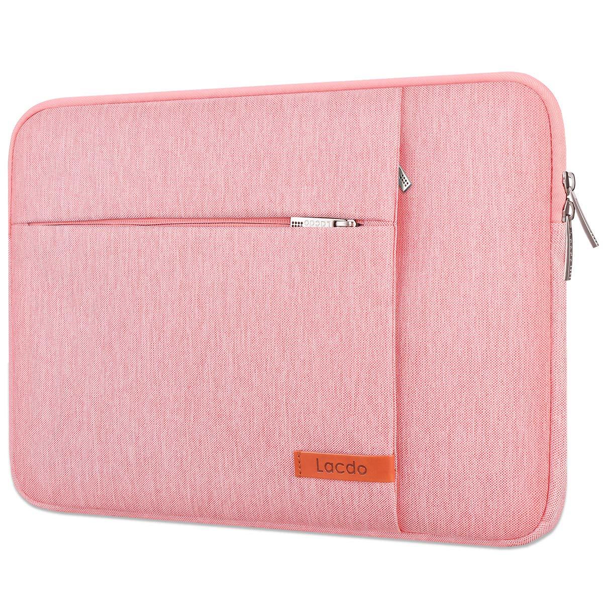 "Lacdo 15.6 Inch Laptop Sleeve Case Computer Bag for 15.6"" Acer Aspire/Predator, Inspiron, ASUS ZenBook Pro 15 VivoBook, HP Pavilion, Lenovo IdeaPad 330, ThinkPad E590, Chromebook Water Resistant, Pink"