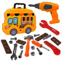 Smart Novelty Toy Tool Set for Kids and Toddlers Pretend Play Toy Tools for Boys and Girls - Awesome 25 Piece Kids Tool Box Great Or Birthday Gift in Unique School Bus Shaped Case