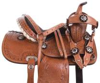 """Acerugs 10"""" 12"""" 13"""" 14"""" Pink Purple Black Blue Crystal Show Western Barrel Racing Youth Child Kids Horse Pony Saddle TACK Package Free Bridle REINS Breastplate"""