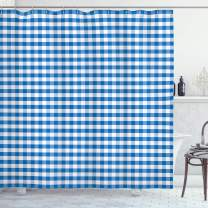 "Ambesonne Checkered Shower Curtain, Monochrome Gingham Checks Classical Country Culture Old Fashioned Grid Design, Cloth Fabric Bathroom Decor Set with Hooks, 70"" Long, Blue White"