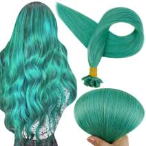Full Shine Nail Tip Braizlian Extension 18 Inch 25 gram Per Package Colored Remy Hair Extensions Pre Bonded Remy Hair Extensions Straight Hair Extensions Color Teal Straight Hair Extensions