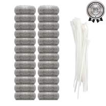 24 Pieces Lint Traps Stainless Steel Washing Machine Lint Snare Traps, Washer Hose Lint Traps with 24 pcs Cable Ties