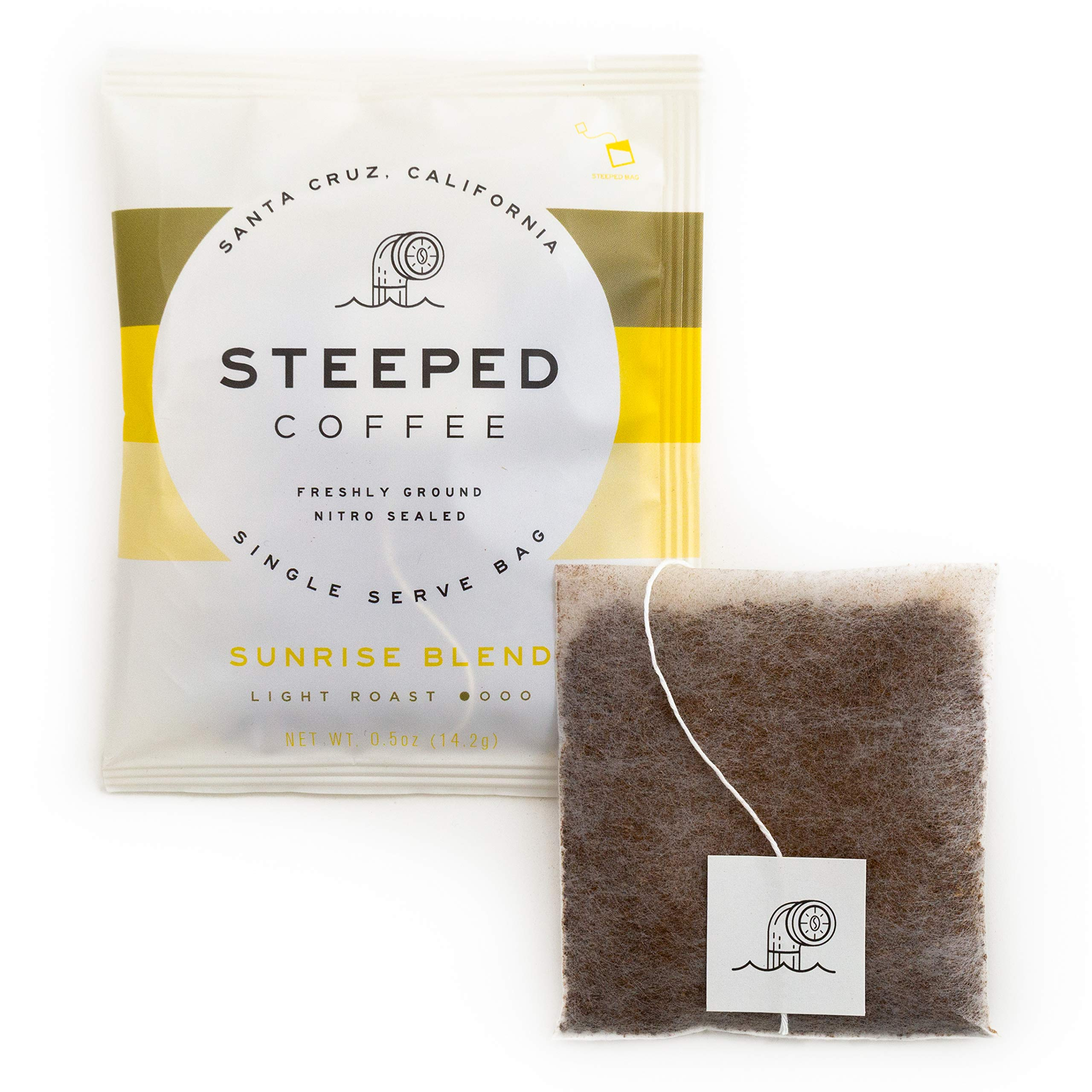 Steeped Coffee Single-Serve Packs - Just + Water - Direct Trade, Hand Roasted, Specialty Grade - Nitro Sealed, Eco-Friendly - Sunrise Blend, Light Roast (8-Pack)