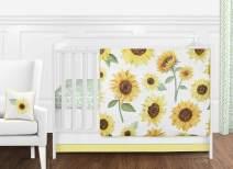 Sweet Jojo Designs Yellow, Green and White Sunflower Boho Floral Baby Girl Nursery Crib Bedding Set - 11 Pieces - Farmhouse Watercolor Flower