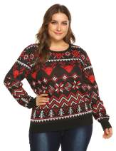 IN'VOLAND Women's Plus Size Ugly Christmas Sweater Snowman Tree Snowflakes Sweater Reindeer Pullover(16W-24W)