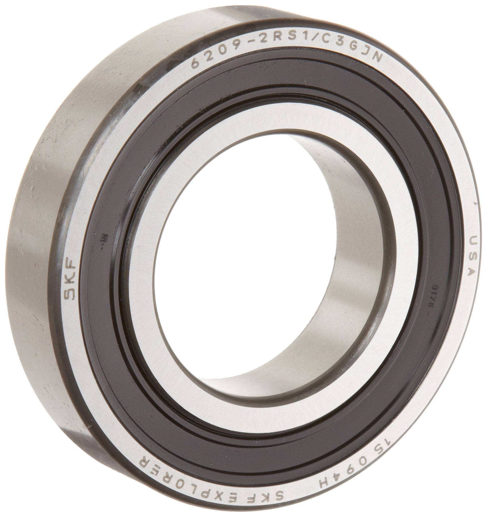 SKF 6206 2RSJEM Light Series Deep Groove Ball Bearing, Deep Groove Design, ABEC 1 Precision, Double Sealed, Contact, Steel Cage, C3 Clearance, 30mm Bore, 62mm OD, 16mm Width, 2520.0 pounds Static Load Capacity, 4380.00 pounds Dynamic Load Capacity