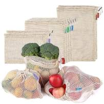 Reusable Produce Bags,esonmus 8 Pcs Mesh Cotton Bags with Drawstring and Tare Weight Color Tag for Grocery Shopping,Fruits,Veggies,Snack,Eco-Friendly,Biodegradable,Durable,Lightweight,Washable,Beige
