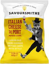 SAVOURSMITHS Hand Cooked Potato Chips, Gluten Free, Non Gmo, All Natural, Luxurious British Style Chips with Style, Italian Cheese & Port, 31.74 Oz