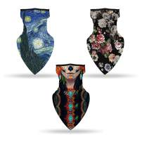 3PC Face Mask Bandana with Ear Loops | Variety Pack Neck Gaiter Balaclava for Dust and Wind Protection