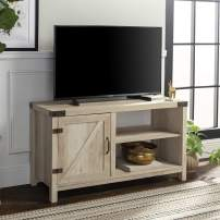 """WE Furniture Modern Farmhouse Barn DoorWood Stand for TV's up to 48"""" Living Room Storage, 44"""", White"""