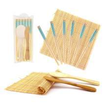 BambooMN 10 Piece Complete Sushi Making Kit 2X Bamboo Rolling Mats, 1x Rice Paddle, 1x Spreader and 6 Pairs Blue Diamond Chopsticks