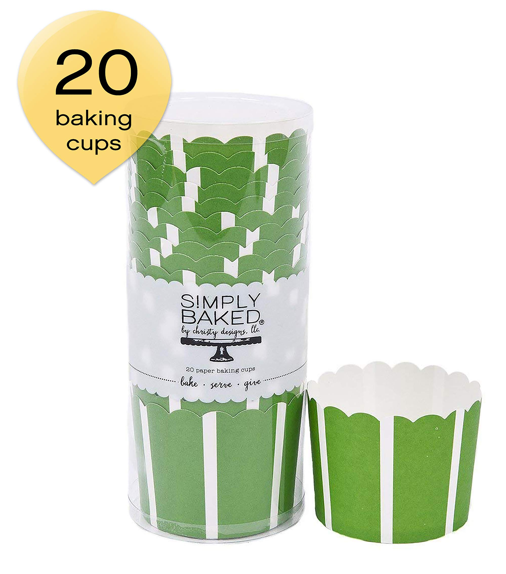 Simply Baked Large Baking Cups, 20-Pack, Green with White Stripe